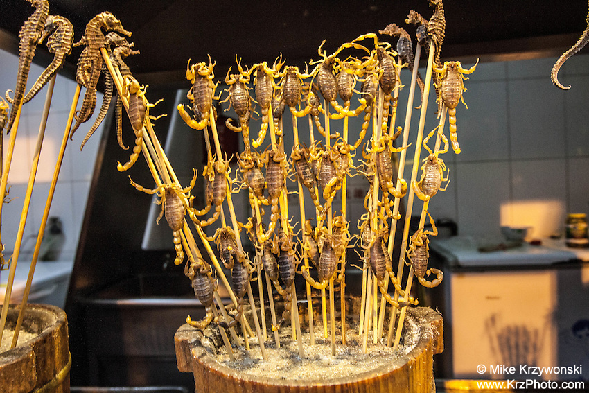 Cooked scorpions and sea horses on skewer for sale, ready to be eaten in Beijing, China