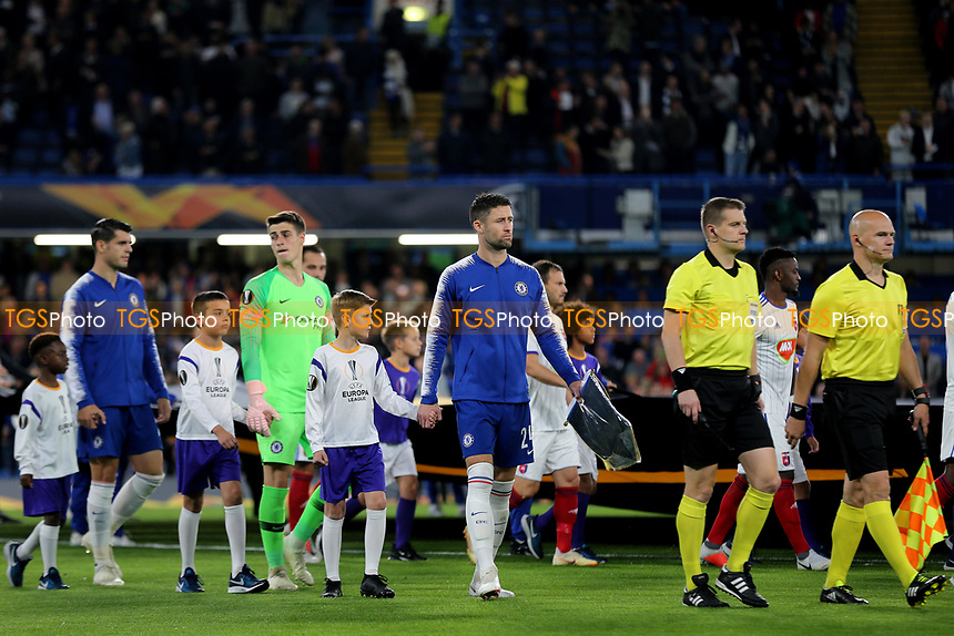 Chelsea's Gary Cahill is named as captain and leads out the team during Chelsea vs MOL Vidi, UEFA Europa League Football at Stamford Bridge on 4th October 2018