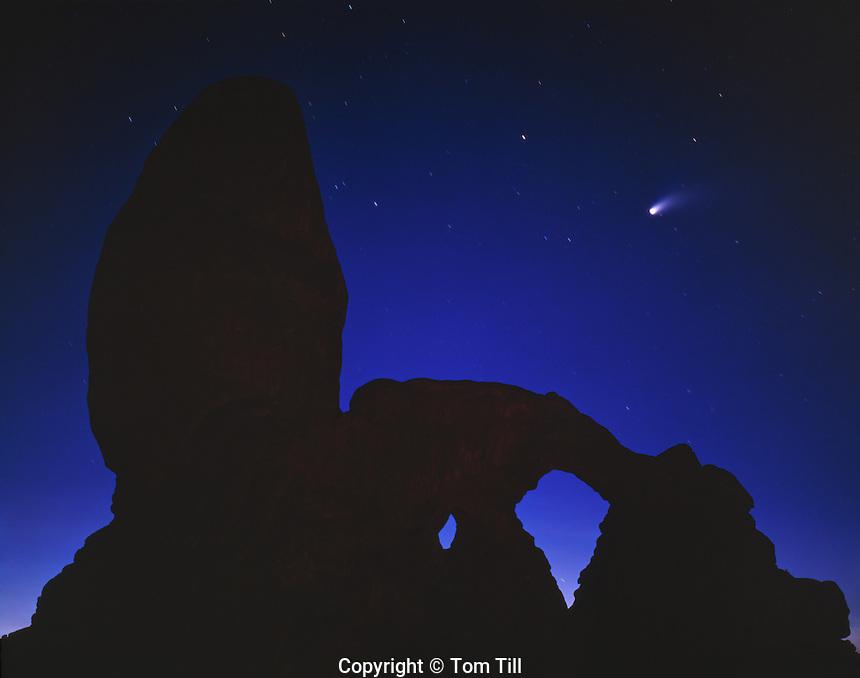 Turret Arch & Hale-Bopp Comet, Arches National Park, Utah