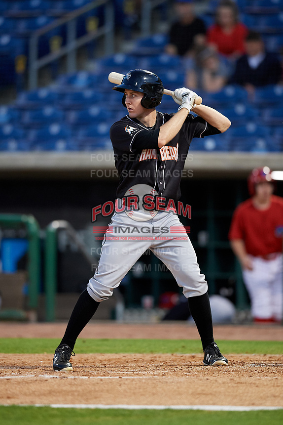 Jupiter Hammerheads center fielder Brian Miller (5) at bat during a game against the Clearwater Threshers on April 12, 2018 at Spectrum Field in Clearwater, Florida.  Jupiter defeated Clearwater 8-4.  (Mike Janes/Four Seam Images)