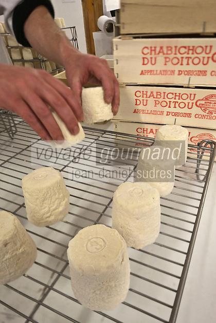 Europe/France/Poitou-Charentes/79/Deux-Sèvres/Villemain: Fromagerie à la ferme de Paul Gorgelet: Le Petit Boisselage - Conditionnement et expédition des chabichous du Poitou