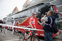 Lars Bak (DEN/Lotto-Belisol) interviewed before leaving for the start<br /> <br /> 2014 Tour de France<br /> stage 4: Le Touquet-Paris-Plage/Lille M&eacute;tropole (163km)