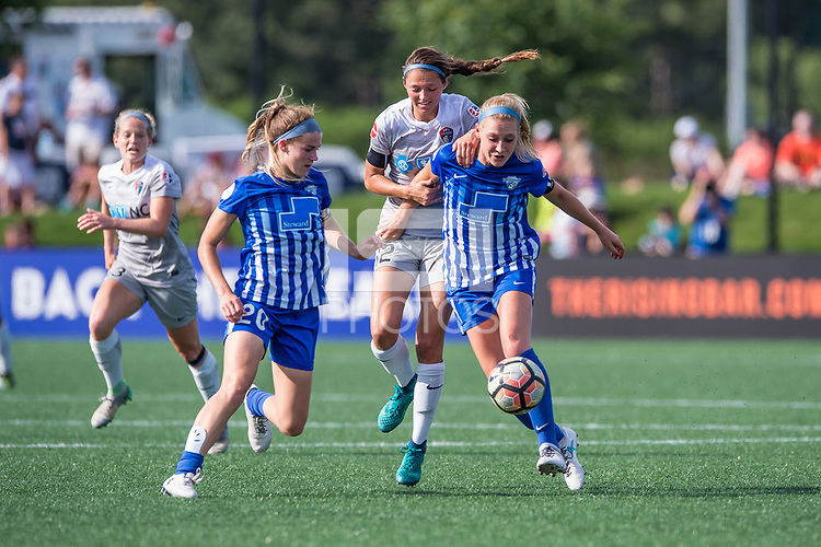 Boston, MA - Saturday June 24, 2017: Christen Westphal, Ashley Hatch and Megan Oyster during a regular season National Women's Soccer League (NWSL) match between the Boston Breakers and the North Carolina Courage at Jordan Field.