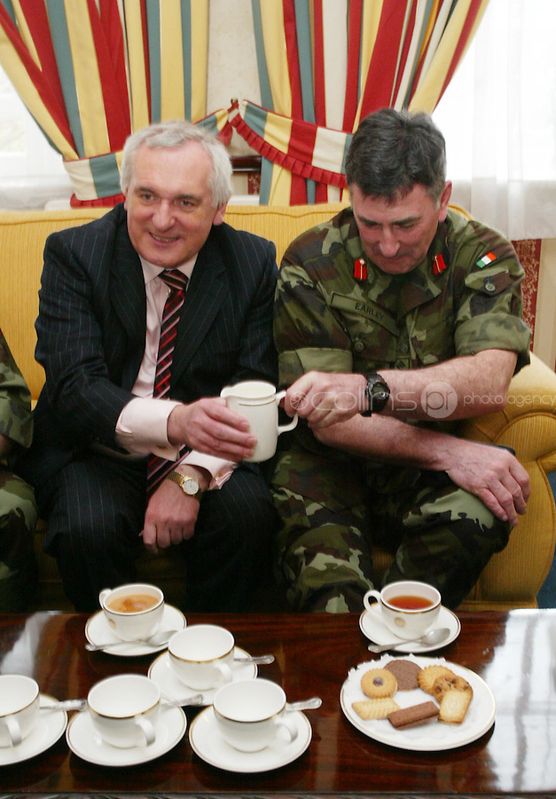 04/04/2008.An Taoiseach Bertie Ahern, TD & Dermot Early Chief of Staff,  during a meeting with Lieutenant General Pat Nash, the Operational Commander of EUFOR Chad Mission at McKee Barracks, Blackhorse Ave, Dublin..Photo: Gareth Chaney Collins