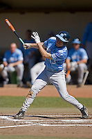 Dustin Ackley (13) of the North Carolina Tar Heels follows through on his swing versus the St. John's Red Storm at the 2008 Coca-Cola Classic at the Winthrop Ballpark in Rock Hill, SC, Sunday, March 2, 2008.