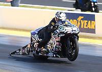 May 16, 2014; Commerce, GA, USA; NHRA pro stock motorcycle rider Katie Sullivan during qualifying for the Southern Nationals at Atlanta Dragway. Mandatory Credit: Mark J. Rebilas-USA TODAY Sports