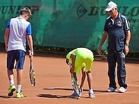Netherlands, Dordrecht, August 03, 2015, Tennis,  National Junior Championships, NJK, TV Dash 35, Jens Hoogendam (L) and Jesse da Jager in a line dispute<br /> Photo: Tennisimages/Henk Koster