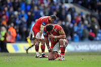 Opeti Fonua of London Welsh looks dejected after the final whistle, as London Welsh's relegation from the Premiership is sealed. Aviva Premiership match, between London Welsh and Bath Rugby on March 29, 2015 at the Kassam Stadium in Oxford, England. Photo by: Patrick Khachfe / Onside Images