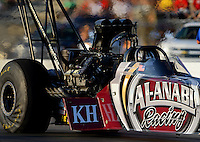 May 18, 2012; Topeka, KS, USA: NHRA top fuel dragster driver Shawn Langdon during qualifying for the Summer Nationals at Heartland Park Topeka. Mandatory Credit: Mark J. Rebilas-