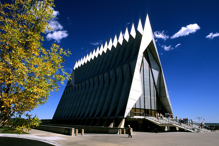Famous chapel at Air Force Academy in Colorado Springs Colorado