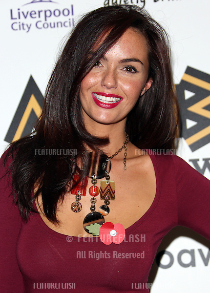 Jennifer Metcalfe in the press room for The MOBO awards 2012 held at the Echo Arena, Liverpool. 03/11/2012 Picture by: Henry Harris / Featureflash