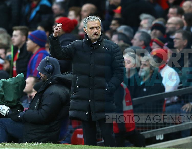 Jose Mourinho manager of Manchester United reacts to the refs decision during the English Premier League match at Old Trafford Stadium, Manchester. Picture date: December 11th, 2016. Pic Simon Bellis/Sportimage