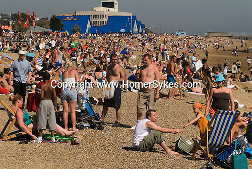 Young family beach scene, Southend on Sea, essex. England.