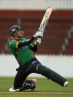 Central's Brendon Diamanti hits a six off the last ball of their innings during the State Shield cricket match between the Wellington Firebirds and Central Stags at Allied Prime Basin Reserve, Wellington, New Zealand on Sunday, 11 January 2009. Photo: Dave Lintott / lintottphoto.co.nz