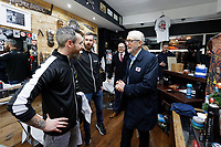 Pictured: Jeremy Corbyn the owners of Big Mel's Barbershop in Carmarthen. Saturday 07 December 2019<br /> Re: Labour Party leader Jeremy Corbyn pre-election campaign in Carmarthen, Wales, UK.