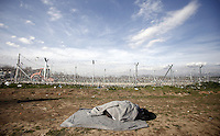 Pictured: The fenced off Greek FYRO Macedonian border Thursday 25 February 2016<br /> Re: Refugees have been left stranded in temporary camps after Greek FYRO Macedonian borders were closed in Idomeni, northern Greece.