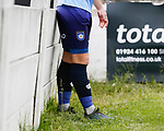 YIFA logo and white rose on the Yorkshire shorts and socks. Yorkshire v Parishes of Jersey, CONIFA Heritage Cup, Ingfield Stadium, Ossett. Yorkshire's first competitive game. The Yorkshire International Football Association was formed in 2017 and accepted by CONIFA in 2018. Their first competative fixture saw them host Parishes of Jersey in the Heritage Cup at Ingfield stadium in Ossett. Yorkshire won 1-0 with a 93 minute goal in front of 521 people.