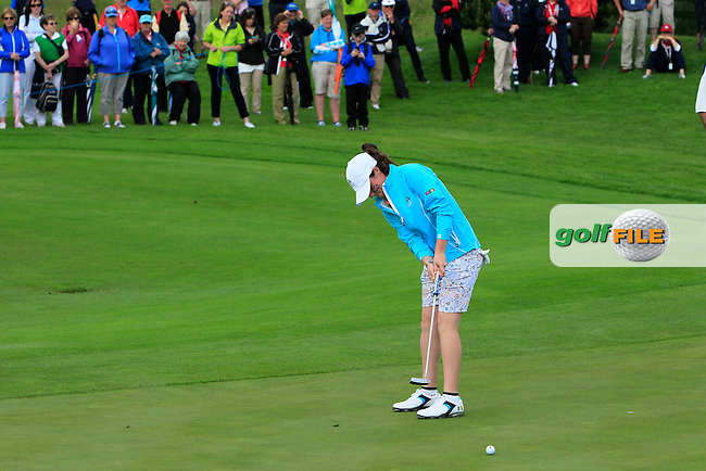Leona Maguire on the 9th green during the Saturday Afternoon Fourballs of the 2016 Curtis Cup at Dun Laoghaire Golf Club on Saturday 11th June 2016.<br /> Picture:  Golffile | Thos Caffrey