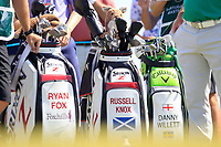 Ryan Fox (NZL), Russell Knox (SCO), Danny Willett (ENG) bags on the 3rd tee during the 1st round of the 2017 Portugal Masters, Dom Pedro Victoria Golf Course, Vilamoura, Portugal. 21/09/2017<br /> Picture: Fran Caffrey / Golffile<br /> <br /> All photo usage must carry mandatory copyright credit (&copy; Golffile | Fran Caffrey)