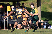 Trent White looks to cut back infield past Rupeni Unga. Counties Manukau Premier Club Rugby game between Bombay and Pukekohe, played at Bombay on Saturday June 30th 2018.<br /> Bombay won the game 24 - 14 after leading 24 - 0 at halftime.<br /> Bombay 24 - Sepuloni Taufa, Tulele Masoe, Chay Mackwood, Liam Daniela tries, Ki Anufe 2 conversions.<br /> Pukekohe Mitre 10 Mega 14 - Joshua Baverstock, Gregor Christie tries; Cody White 2 conversions.<br /> Photo by Richard Spranger.