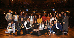 "Gabriella Sorrentino with Student performers during the eduHAM Q & A before The Rockefeller Foundation and The Gilder Lehrman Institute of American History sponsored High School student #EduHam matinee performance of ""Hamilton"" at the Richard Rodgers Theatre on November 13, 2019 in New York City."
