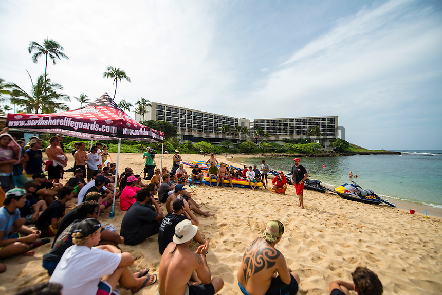 North Shore, Oahu, Hawaii (Wednesday, November 20, 2013) &ndash; BIG WAVE SAFETY SESSIONS, In Memory of Sion Milosky:<br /> Hosted by big wave riders Brian Keaulana (HAW), Kohl Christensen (HAW) &amp; Danilo Couto (BRA).<br /> The 2nd annual Big Wave Safety Sessions took place again today  with opportunities for public interaction and ocean safety education. Held in memory of Sion Milosky, a big wave rider from the North Shore who tragically lost his life riding big waves at California's Mavericks, these sessions see the world's elite big wave riders gathering to refresh their safety and rescue skills, breath-holding techniques, CPR training, and also analyze critical events that have taken place during big wave riding sessions over the past 12 months. The public are be able watch on-water skills and learn about key ocean safety lessons from some of the best in the field.<br />  Photo: joliphotos.com