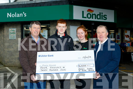 L-R Niall Nolan, Nolan's Londis, Tralee, with Daragh Murnane & Sinead O'Connor, Londis staff , presenting a cheque for 4700 euro from a 'bikeathon' event held on the fourcourt of the garage last November, to  Con O' Connor of Pieta House, Tralee, last Wednesday February 13th.