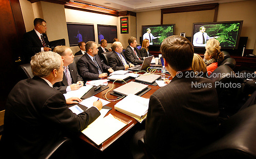 United States President George W. Bush participates in a White House briefing in the Situation Room, Thursday, September 11, 2008, on Hurricane Ike as it neared the Texas coastline.  .Mandatory Credit: Eric Draper / White House via CNP