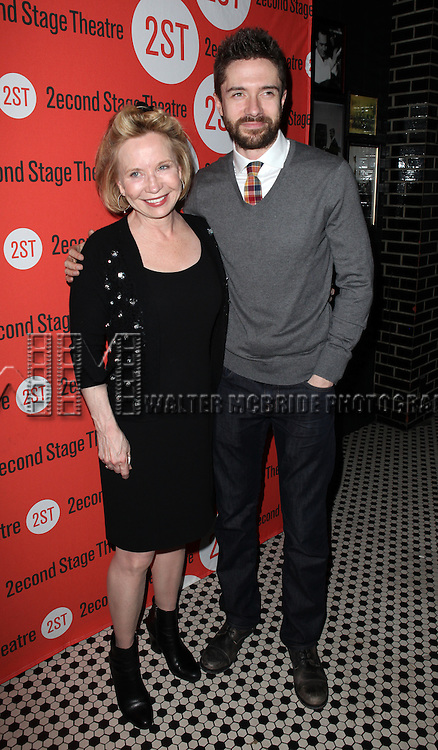 Debra Jo Rupp & Topher Grace.attending the Off-Broadway Opening Night Performance Party for the Second Stage Theatre's 'Lonely, I'm Not' at HB Burger in New York City on 5/7/2012.