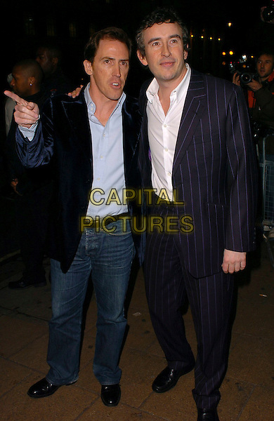 "BOB BRYDON & STEVE COOGAN.""A Cock And Bull Story"" Premiere at Cineworld Cinemas, Haymarket, London, UK.January 16th, 2006.Ref: CAN.full length blue pinstripe suit jeans denim pointing.www.capitalpictures.com.sales@capitalpictures.com.© Capital Pictures."