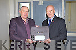 Michael Lyne pictured here on the left  presenting the Canadian Ambassador to Ireland His Excellency Loyola Hearn with a Slate Plaque depicting the Transatlantic Cable crossing between Valentia Island and Hearts Content, Canada.  The presentation was made on Wednesday last at the Cable Station on Valentia Island.