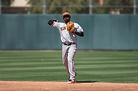 San Francisco Giants second baseman Frandy De La Rosa (15) during a Minor League Spring Training game against the Oakland Athletics at Lew Wolff Training Complex on March 26, 2018 in Mesa, Arizona. (Zachary Lucy/Four Seam Images)