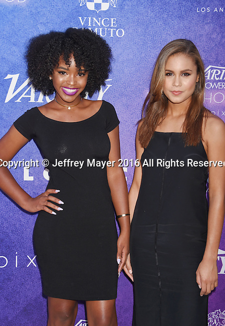 HOLLYWOOD, CA - AUGUST 16: Actresses Lovie Simone (L) and Desiree Ross arrive at Variety's Power Of Young Hollywood at NeueHouse Hollywood on August 16, 2016 in Los Angeles, California.