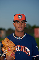 Connecticut Tigers pitcher Felix Viloria (40) poses for a photo before a game against the Auburn Doubledays on August 9, 2017 at Falcon Park in Auburn, New York.  Connecticut defeated Auburn 6-4.  (Mike Janes/Four Seam Images)