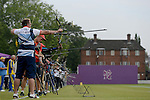 LONDON, ENGLAND - JULY 27:  Larry Godfrey of Great Britian warms up during the Men's Individual Archery Ranking Round on Olympics Opening Day as part of the London 2012 Olympic Games at the Lord's Cricket Ground on July 27, 2012 in London, England. (Photo by Donald Miralle)