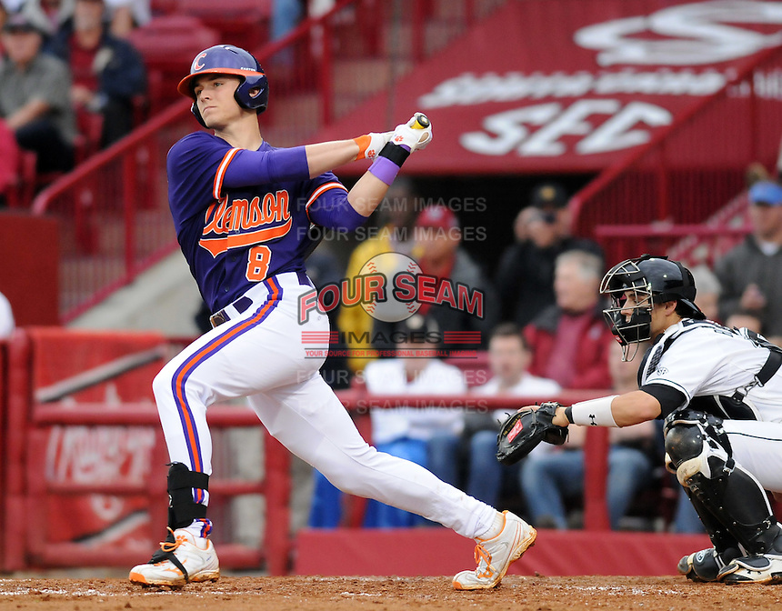 Third baseman Richie Shaffer (8) of the Clemson Tigers in a game against the South Carolina Gamecocks on March 3, 2012, at Carolina Stadium in Columbia, South Carolina. Carolina won, 9-6. (Tom Priddy/Four Seam Images)
