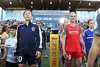 Cary, NC - Saturday April 22, 2017: Yuri Kawamura, Amandine Henry prior to a regular season National Women's Soccer League (NWSL) match between the North Carolina Courage and the Portland Thorns FC at Sahlen's Stadium at WakeMed Soccer Park.