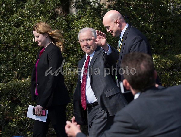 United States Attorney General Jeff Sessions departs from  the welcoming ceremony of the 2017 NCAA Football National Champions: The Alabama Crimson Tide to the White House in Washington, DC, March 10, 2018. Photo Credit: Chris Kleponis/CNP/AdMedia
