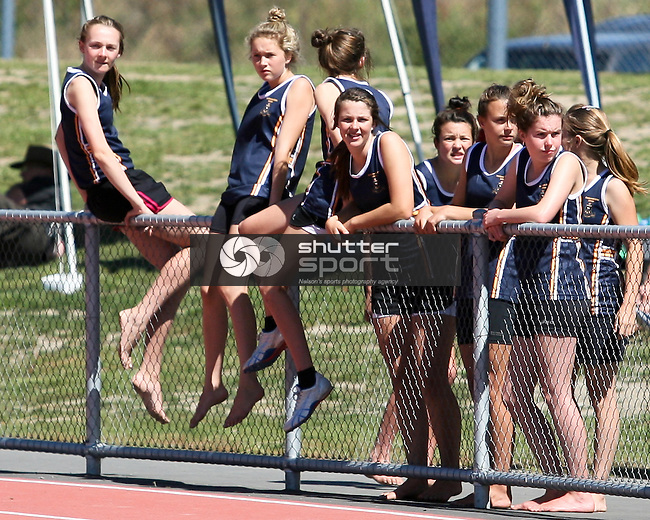 Marlborough Girls look on. TSS Athletics Championships 2012, 10 Mar 2012,  Saxton Athletic Stadium, Nelson, New Zealand<br /> Photo: Marc Palmano/shuttersport.co.nz