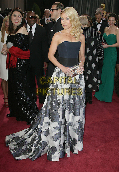 Kelly Ripa.85th Annual Academy Awards held at the Dolby Theatre at Hollywood & Highland Center, Hollywood, California, USA..February 24th, 2013.oscars full length black strapless dress top gown skirt white grey gray pattern print clutch bag silver .CAP/ADM.©AdMedia/Capital Pictures.