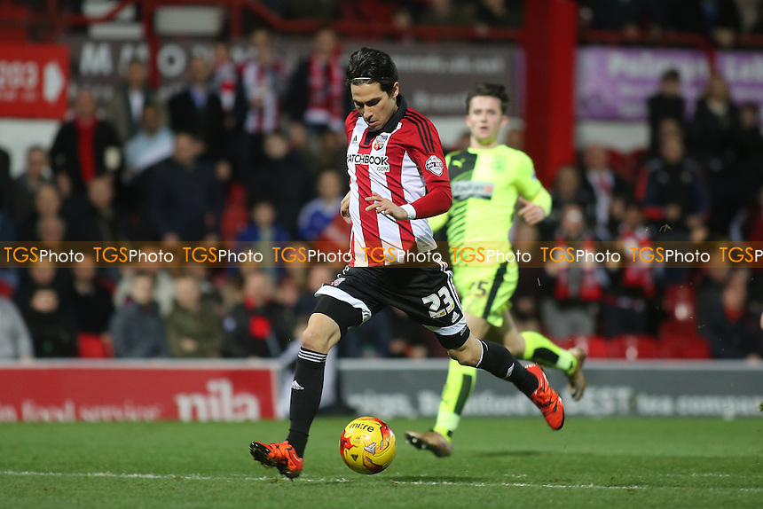 Jota misses a great opportunity to increase Brentford's lead during Brentford vs Huddersfield Town, Sky Bet Championship Football at Griffin Park, London, England on 19/12/2015