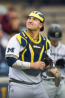 Michigan Wolverines catcher Harrison Wenson (7) in action against the Oakland Golden Grizzlies on May 17, 2016 at Ray Fisher Stadium in Ann Arbor, Michigan. Oakland defeated Michigan 6-5 in 10 innings. (Andrew Woolley/Four Seam Images)