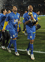 Robinho of Brazil celebrates with the Confederations Cup. Brazil defeated USA 3-2 in the FIFA Confederations Cup Final at Ellis Park Stadium in Johannesburg, South Africa on June 28, 2009.