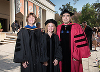 "Featured Convocation speakers (from left) Amy Lyford, professor of art and art history, Sasha Sherman, assistant professor of cognitive science and Richard Mora, associate professor of sociology. The three talked about this year's theme, ""Re-envisioning Metropolis: Los Angeles and the Urban Arts."" 508 members of the Class of 2020 are welcomed to Occidental College by trustees, faculty and staff in Thorne Hall on Aug. 30, 2016 during Oxy's 129th Convocation ceremony, a tradition that formally marks the start of the academic year and welcomes the new class.<br /> (Photo by Marc Campos, Occidental College Photographer)"