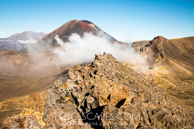 Steaming hot lakes with Mount Ngaruhoe in background, Tongariro Nationasl Park, Central Plateau, North Island, UNESCO World Heritage Area, New Zealand, NZ