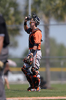 Baltimore Orioles Chance Sisco (12) during a minor league spring training game against the Boston Red Sox on March 18, 2015 at the Buck O'Neil Complex in Sarasota, Florida.  (Mike Janes/Four Seam Images)