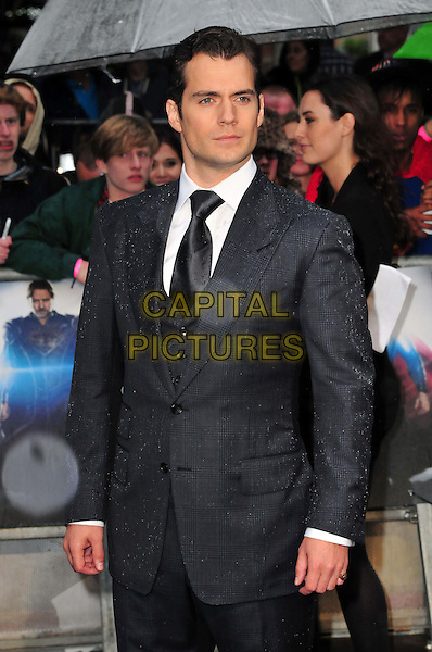 Henry Cavill<br /> 'Man Of Steel' UK film premiere, Empire cinema, Leicester Square, London, England.<br /> 12th June 2013<br /> half length blue grey gray suit white shirt <br /> CAP/BF<br /> &copy;Bob Fidgeon/Capital Pictures