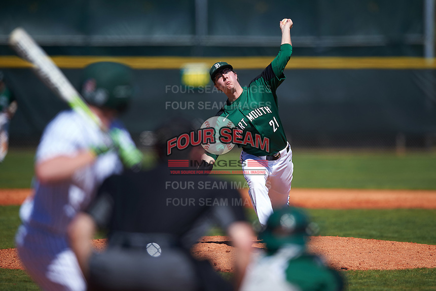 Dartmouth Big Green relief pitcher Marc Bachman (21) delivers a pitch during a game against the Eastern Michigan Eagles on February 25, 2017 at North Charlotte Regional Park in Port Charlotte, Florida.  Dartmouth defeated Eastern Michigan 8-4.  (Mike Janes/Four Seam Images)