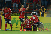 MEDELLIN - COLOMBIA -10-12-2015: Jugadores de Independiente Medellin celebran después de anotar un gol a Atletico Nacional durante partido de ida entre Deportivo Independiente Medellin y Atletico Nacional por las semifinales de la Liga Aguila II 2015, en el estadio Atanasio Girardot de la ciudad de Medellin. / Players of Independiente Medellin celebrates after scoring a goal to Atletico Nacional during a match for the first leg between Deportivo Independiente Medellin and Atletico Nacional for the semifinals of the Liga Aguila II 2015 at the Atanasio Girardot stadium in Medellin city. Photos: VizzorImage  / Leon Monsalve / Cont.