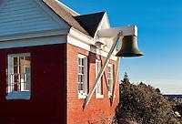 Pemaquid Point Light Station bellhouse, Muscongus Bay, Bristol, Maine, USA. 1827